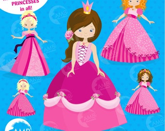 Princess Clipart, Fairy Princess in Pink, Fairy princesses as Blonds, Brunettes, Red Heads, Commercial Use, AMB-993