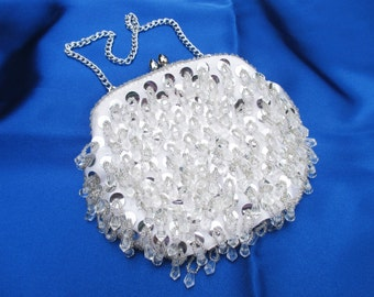 White Satin and Silver Beaded Evening Clutch Purse Bag
