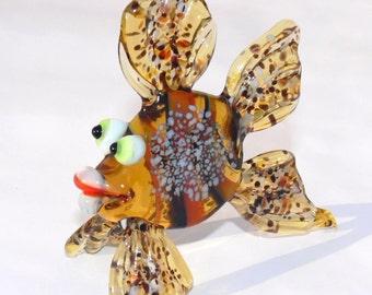 Lampwork Glass Art Murano Glass Fish Standing figurine