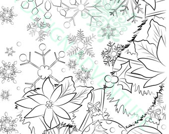 Adult Coloring Book Download Printable Page Christmas Snowflake