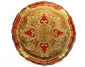 Vintage Italian Small Round Florentine Gold And Orange Tray/Vintage Tray/Florentine Tray/Italian Tray