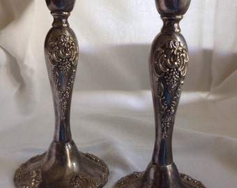 Pair of Godinger Silver Plate Candlesticks, 20th Century, Baroque