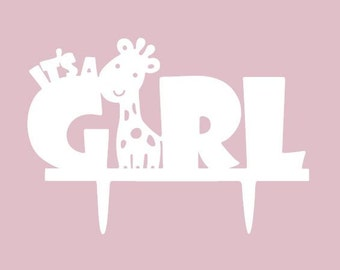 """All White Acrylic """"It's a Girl"""" Baby Shower Cake Topper - Custom Toppers from Bakell - DJ217"""