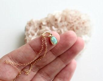 Opal necklace - opal necklace gold - tiny opal necklace - white opal necklace - blue opal necklace - tiny necklace - dainty necklace