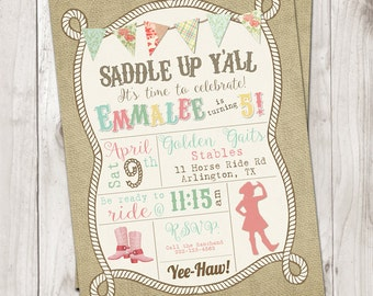Saddle Up Cowgirl Birthday Invitation