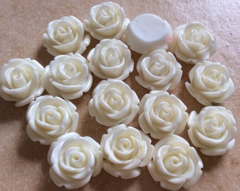 10 pcs 14 mm Off White cabochon Flower,Off white rose flower,off white Rose cabochon.White rose cabochon,resin flower,rose cabochon flower