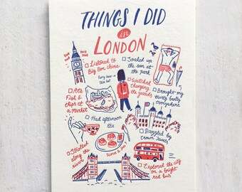 Things I Did in London Letterpress Postcard