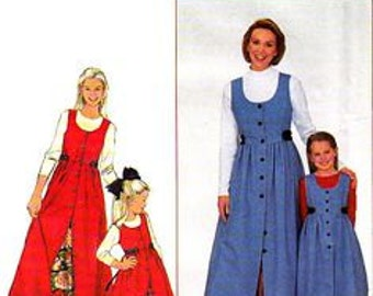 Simplicity, 8292, Mother and Daughter matching Jumper, Petticoat, Pinafore, Empire waistline, Button Front Jumper