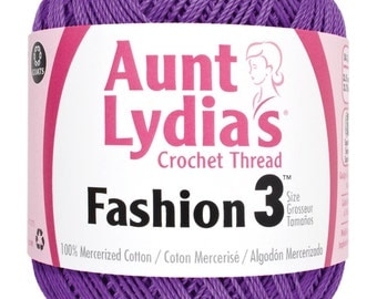 Purple Crochet Thread size 3, Aunt Lydias Fashion, MoonDancer Crafts, Purple Crochet Knitting Tatting Craft thread