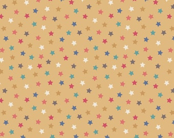 Lewis & Irene Patchwork Quilting Fabric Vintage Circus A144.2 Little stars antique gold