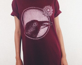Women's T Shirt Crow Tee Crow tshirt women's graphic tee Organic cotton T-shirt Womens tee Shirt Bird print bird t-shirt Gift for her