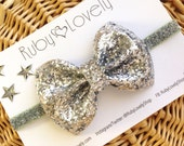 Baby/Girls Silver Glitter Bow, New Years Bow, Silver Headband, Silver Christmas Bow, Silver Sparkle Bow, Silver Bow,