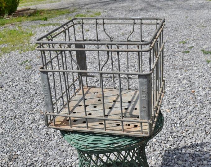 Vintage Milk Crate Metal Wire Mayfield Dairy Rustic Wire Basket Bin Box Industrial Collectible PanchosPorch