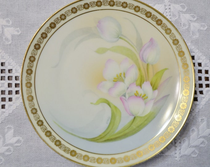 Vintage Hand Painted Decorative Plate Bavaria Signed Remile White and Pink Tulip Floral Design Gold Details Panchosporch