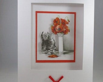 Blank Kitten Greeting Card, 3D, Decoupage,Any Occasion