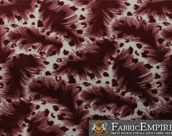 Fleece Fabric Printed Anti Pill Burgundy Feather Spotted Cheetah Sold By The Yard N 2053