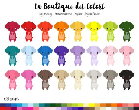 50 Rainbow Kawaii dog Clip art Cute Graphics illustrations