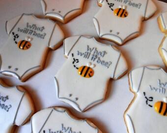 One Dozen Bumble Bee Gender Reveal Cookies