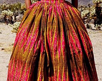 ASHAKA GIVENS African Print Full Knee Length Skirt