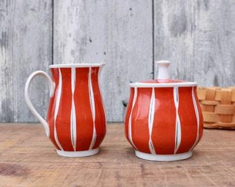 50s sugar and creamer set, orange, black, white, rockabella, 1950s porcelain, 60s china