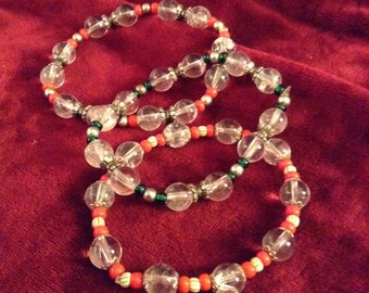 Bangle Bracelets of Chinese glass beads, red, green and clear, perfect for Christmas, summer or anytime!