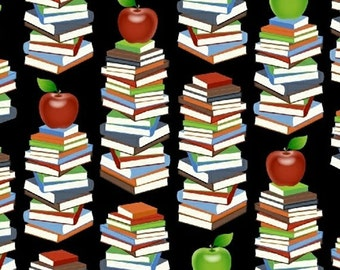 One Yard Educators - Book Stacks in Black - Cotton Quilt or Sewing Fabric - Windham Fabrics - 39023-1 (W3085)
