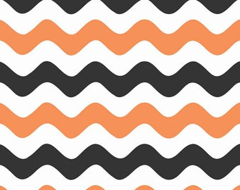 One Yard Wave - Waves in Orange and Black - Cotton Quilt Fabric - RBD Designers for Riley Blake Designs - C415-02 (W3285)