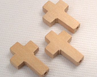 Vintage Wood Cross, Loose Wood Cross Charms, Jewelry Making Supplies, Bleached Wood Crosses, Craft Supplies, Destash (W92)