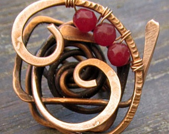 Forged copper wire ring, red agate-Forged copper wire ring, red agate