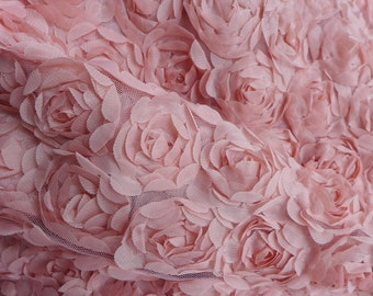 Vintage Pink Chiffon Flower Fabric, 3D Rosette Flowers Lace Fabric, DIY Bridal Dress - Baby Photo Prop - Wedding Decor