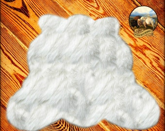 Promotional Sale Shaggy Bearskin Rug Lodge Log Cabin Brown White Black  Or Gray Grizzly Bear Premium Faux Fur Shag Accents Suede Backing