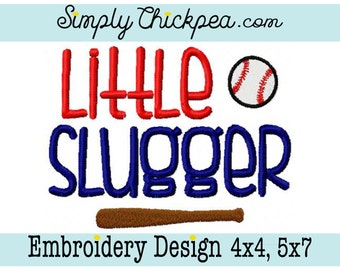 Embroidery Design - Little Slugger - Baseball Saying - For 4x4 and 5x7 Hoops