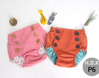 kid's sewing pattern pdf, Retro Baby Toddler bloomer, bloomer with 6buttons, kids bloomer, baby bloomer, sizes New born to 24month
