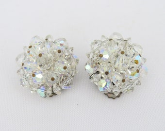 Vintage Signed Laguna AB Glass Bead Clip On Cluster Earrings