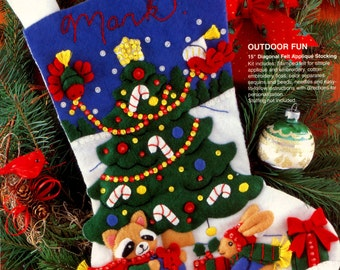 "DIY Bucilla Outdoor Fun ~ 15"" Felt Christmas Stocking Kit #33510 Birds, Bunny Racoon"