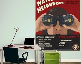 Zombies Watch Your Neighbor Wall Decal - #70621