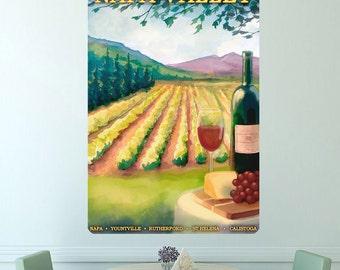 Napa Valley Wine Vineyard Ad Wall Decal - #60757