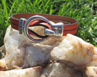 Orange Leather Bracelet with Slider