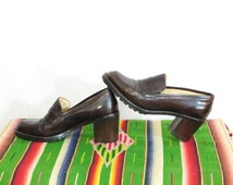 Brown chunky Hand Made in Italy Joan David stable high heel loafers slip ons treaded buttery soft Wood stacked heels