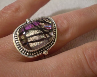 Dichroic Glass 925 Sterling Silver Size 7.75 Ring