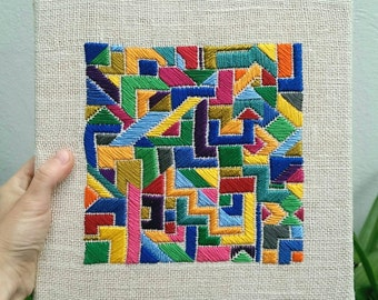 Abstract Geometric Hand Embroidered Wall Art