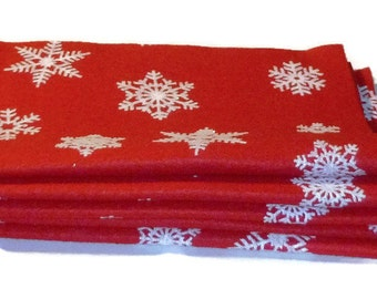 Snowflake pattern felt, red and white, holiday crafts, crafting, winter, snow, ornament making, December, xmas, Christmas, 5 felt sheets