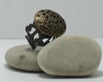 Antique Bronze-tomr Adjustable Ring With Openwork Filigree Shank.