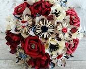 Paper Flower  wedding Bouquet Pin Up Rockabilly Rock'n'roll 40s 50s Wedding Tattoo Heart Swallow Anchor Compass Roses steam punk Vintage