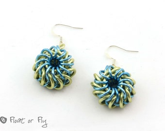 Sunrise Collection: Whirlybird Chain Maille Earrings - Sky Blue and Yellow