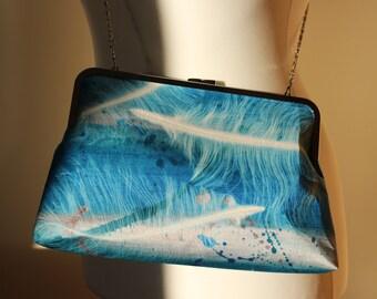 Feather design individually hand printed blue kisslock handbag
