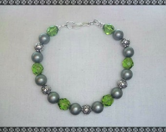 green bracelet, swarovski bracelet, light green bracelet, swarovski, powder green