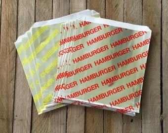50 Foil Hamburger and 50 Foil Cheeseburger Bags - Picnic, Carnival, Party Supply---Birthday Party - Cookout- Concessions