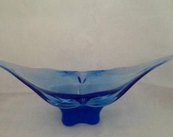Cup Bowl dish vintage blue Murano glass made in Italy