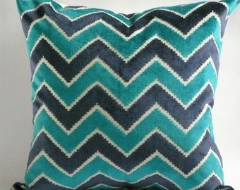 Navy and Teal Cut Velvet Pillow Cover